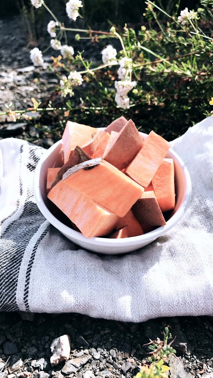 One of my favorites root vegetables of all time, Sweet Potatoes, you need to eat more of this super great potato, is a great source of Beta-Carotene which your body turns into Vitamin A, your cells need this vitamin to stay alive, it also helps your body produce more oils that your scalp needs.  -