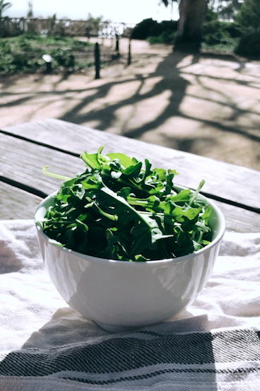 Arugula - Consuming 2 cups of arugula will provide 20 percent of vitamin A, over 50 percent of vitamin K, and 8 percent of vitamin C, folate, and calcium needed for the day. Vitamin A plays an important role in proper cell growth, which directly influences hair growth.