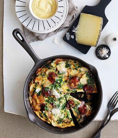 Chorizo Manchego tortilla / Gourmet Traveller