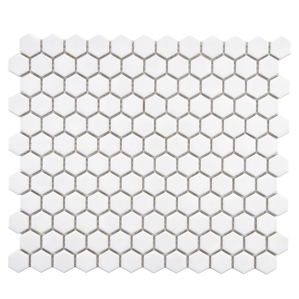 White hexagon white tiles will be larger than these but it gives you an idea.