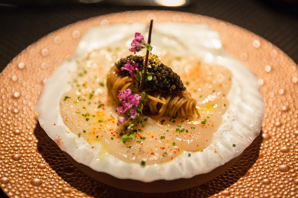 "La Nox de Saint Jacques de Hokaido - Hokkaido Scallops carpaccio in duo of capellini pasta with ""Imperial Caviar"""