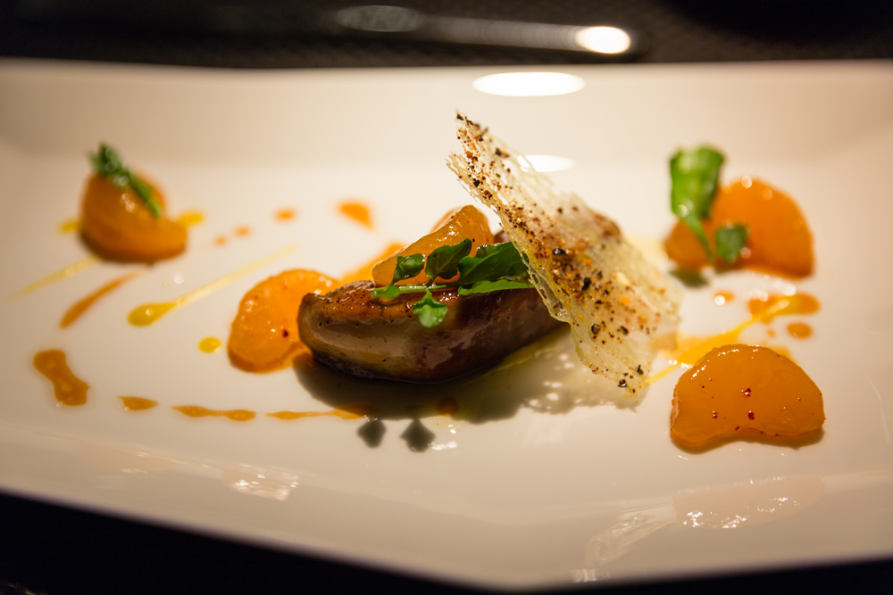 "Le Foie Gras de Canard - Seared duck foie gras with ""Mikan"", mango puree perfumed with spices"