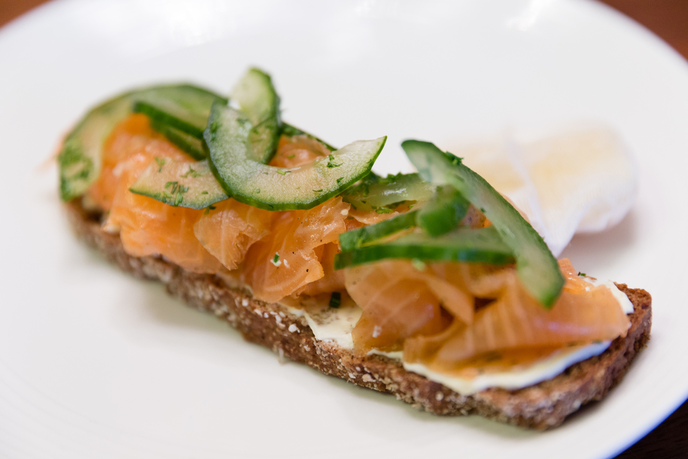 Tea-Smoked Salmon with Sour Cream Butter and Soda Bread