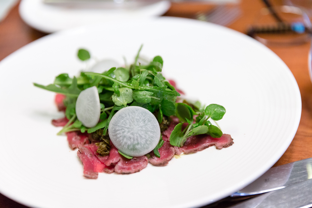 Raw Highland Estate Venison, Horseradish, Turnips and Shallot Dressing