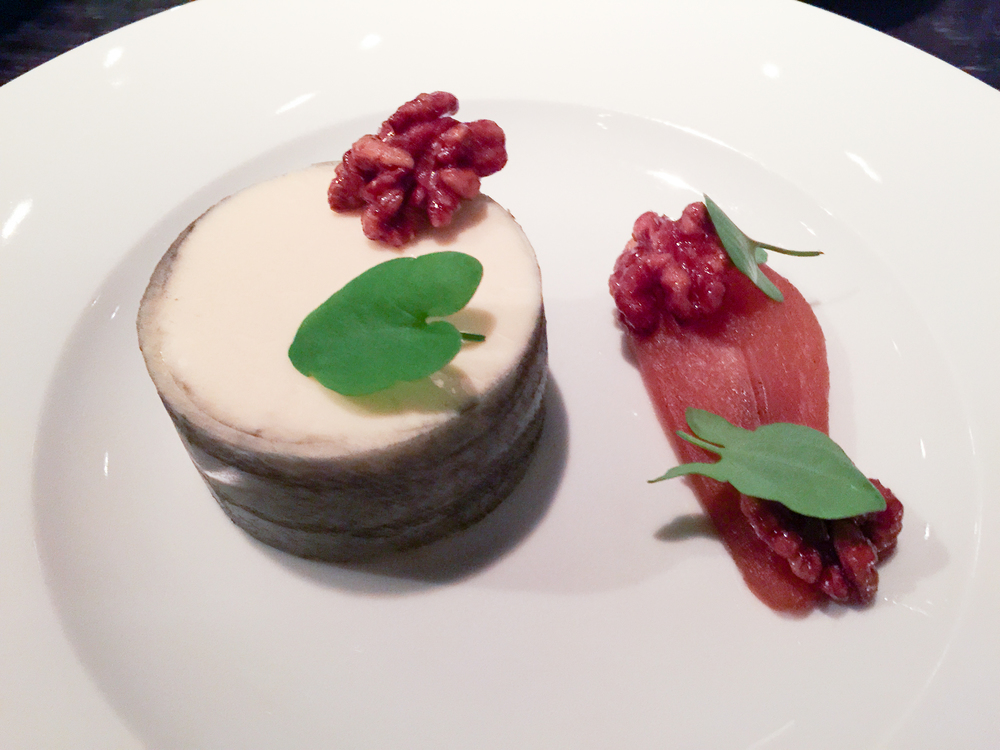 Sambocade (c.1390) - Goats milk cheesecake, elderflower & apple, perry poached pear & smoke candied walnuts