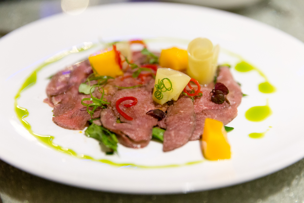 Spiced Seared Duck Carpaccio with   Mango