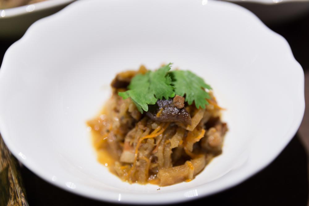 Stir Fried Jicama, Shredded Cuttlefish, Shitake Mushroom, Coriander