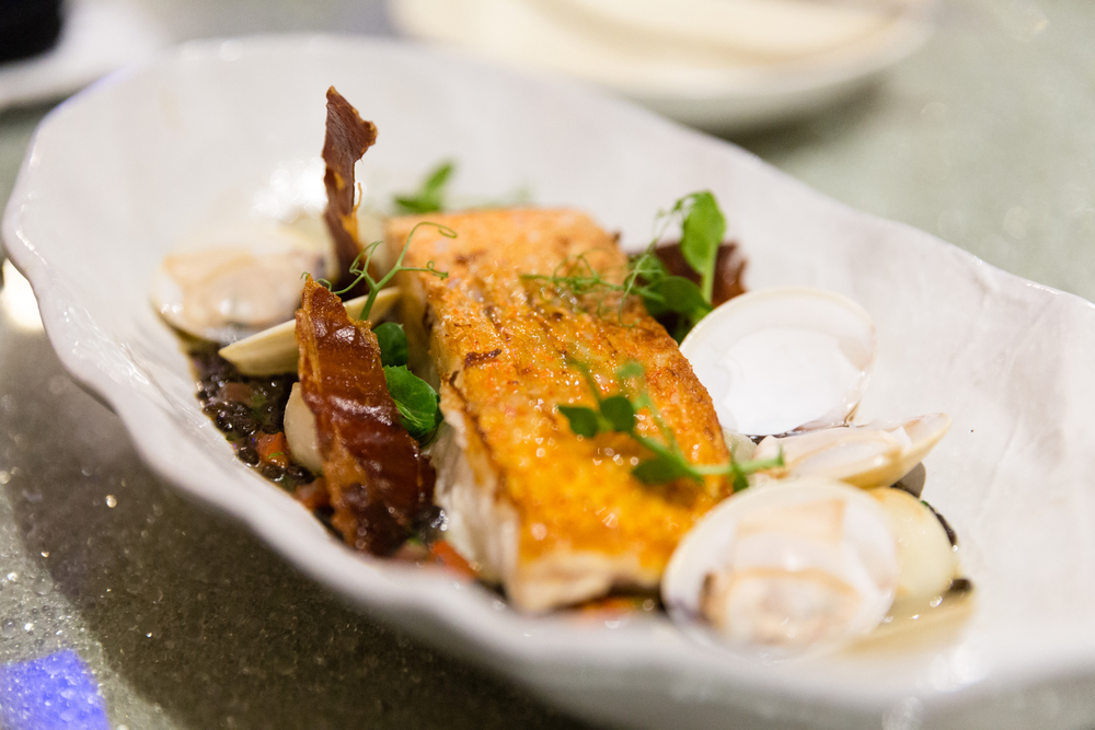 Seared Market Fish, Lentil, Clams and Crispy Ham