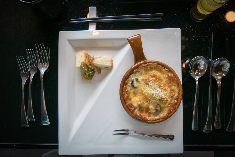 Gratinated Champignon with Mozzarella  - button mushrooms gratin served with Belgian endive