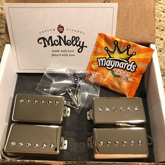 New pickup day! A set of Cornucopias and a set of St. Nicks. @mcnellypickups are enough of a treat but the Maynards Funny Peach  Candy 🍑 puts it over the top! I know what to expect from the Cornucopias - they are my favorite humbuckers - but I'm anxious to hear the St. Nicks. • • • • • #mcnellypickups #guitar #guitars #guitarist #music #electricguitar #customguitar #guitarbuilding #fender #fenderguitar #tele #telecaster #strat #stratocaster #jazzmaster #gibson #lespaul #guitarcollection #luthier #woodworking #diy #handmade #vintage #blues #rock #jazz #metal #lanxtonguitars