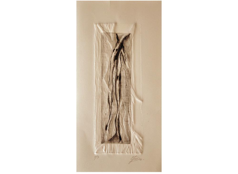 Enchevêtrement n°1, taille douce et gaufrage, linogravure, 17cm x 34cm