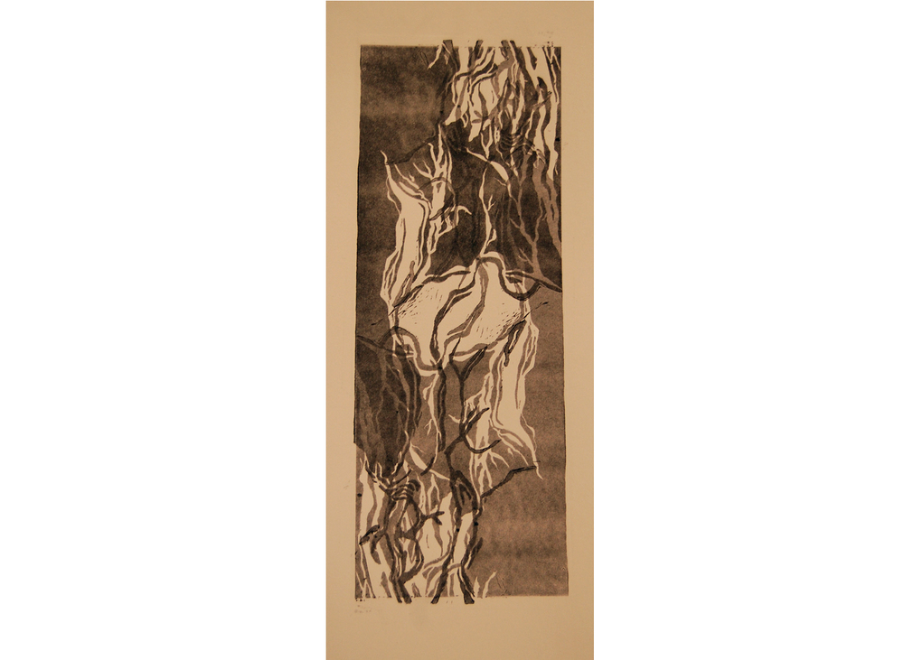 Ramification n°1, linogravure, 20cm x 40cm