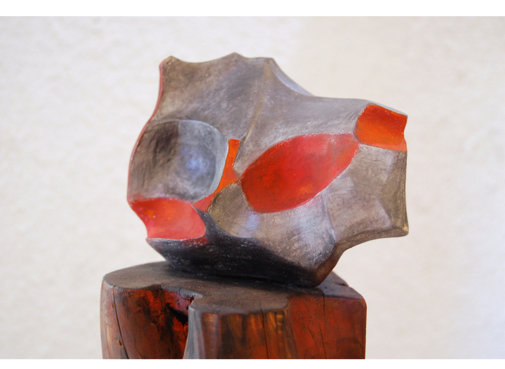 Butterfly bis, terre cuite peinte + bois