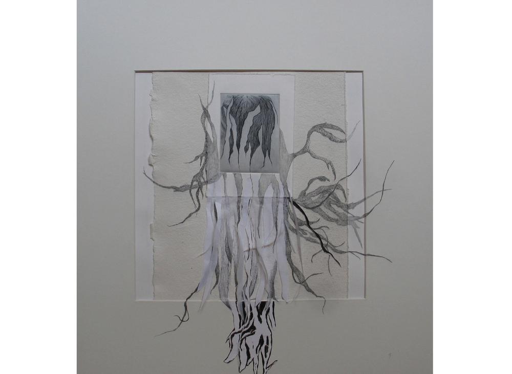 Enracinement, pointe sèche, découpage collage papier et crayon, 50x50 cm