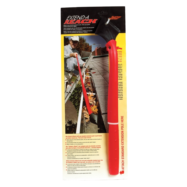 """Gutter Getter"". Attach to extension pole. Hangs itself hands-free onto gutter lip. Medium quality, Great for average use."