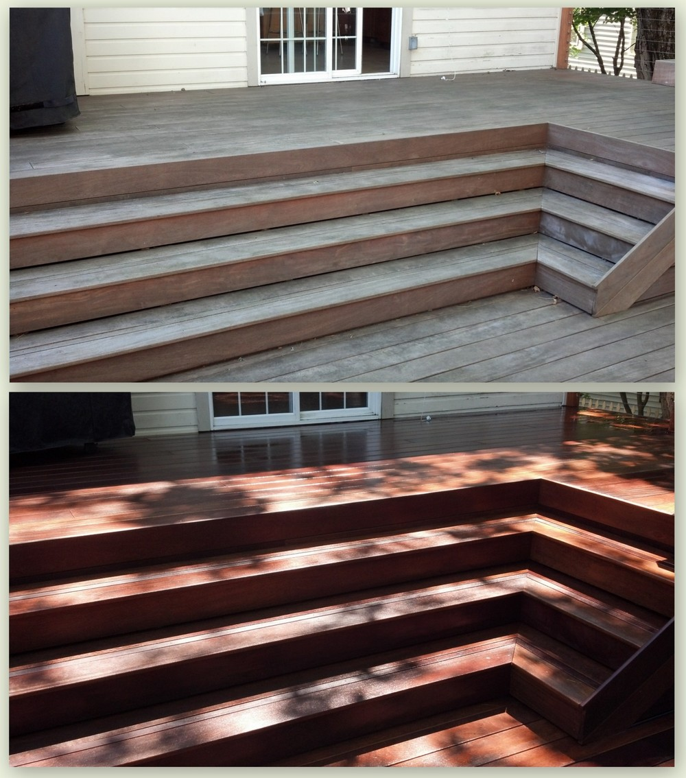 High Quality Hardwood Deck - Algae Removal