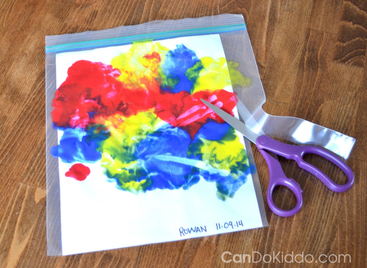 Tummy time finger painting sensory play cando kiddo for Craft paint safe for babies