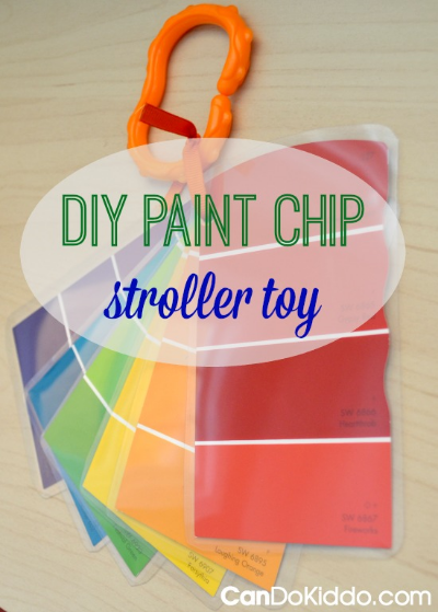 DIY Paint Chip stroller toy. CanDo Kiddo