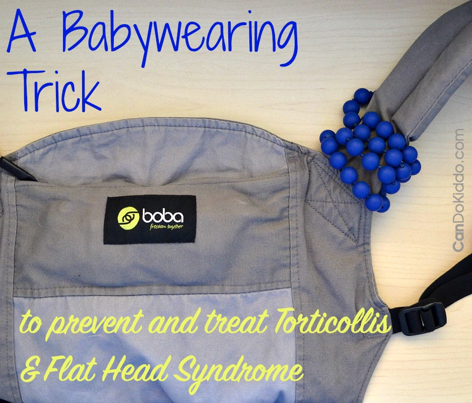 Use teething beads and a baby carrier to prevent and treat Torticollis and Flat Head Syndrome.