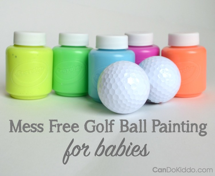Mess free golf ball painting for babies perfect for mothers day perfect for mothers day easter make handmade cards with baby negle