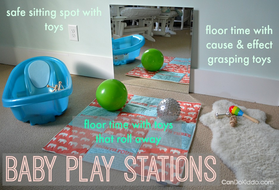 Baby Play Stations - keep baby happy and playing in ways that promote baby milestones and development. CanDoKiddo.com