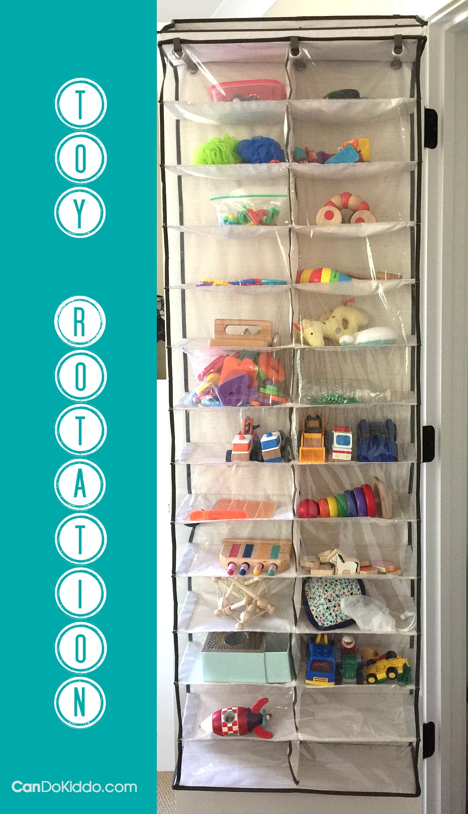 Shoe storage used for storing toys - toy rotation. CanDo Kiddo