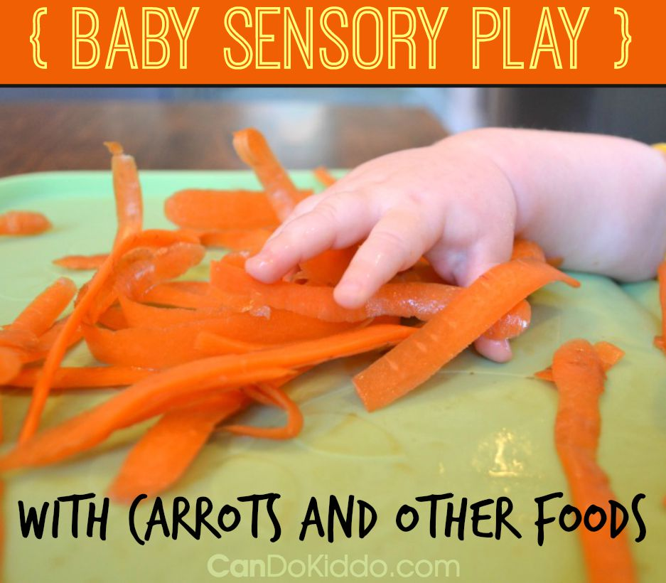 Baby Play Ideas using foods like carrot peels to promote tactile sensory processing. CanDoKiddo.com