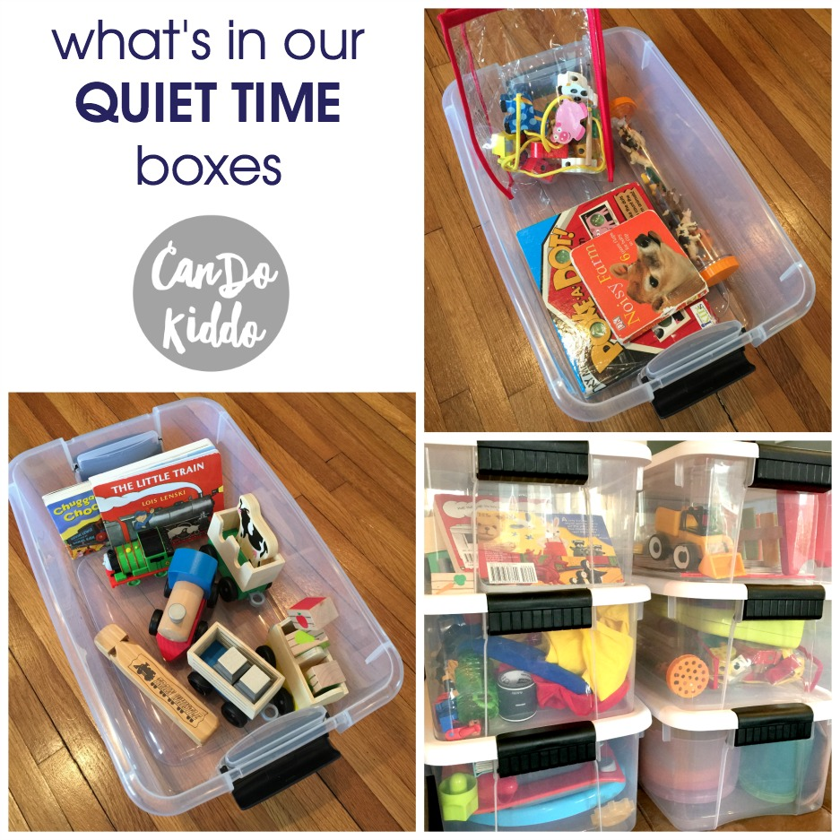 Toddler Quiet Time boxes and daily toy rotation tips. www.CanDoKiddo.com
