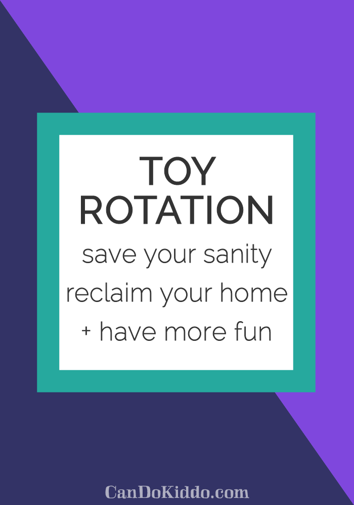 Tips for rotating toys to reduce kid clutter. CanDoKiddo.com