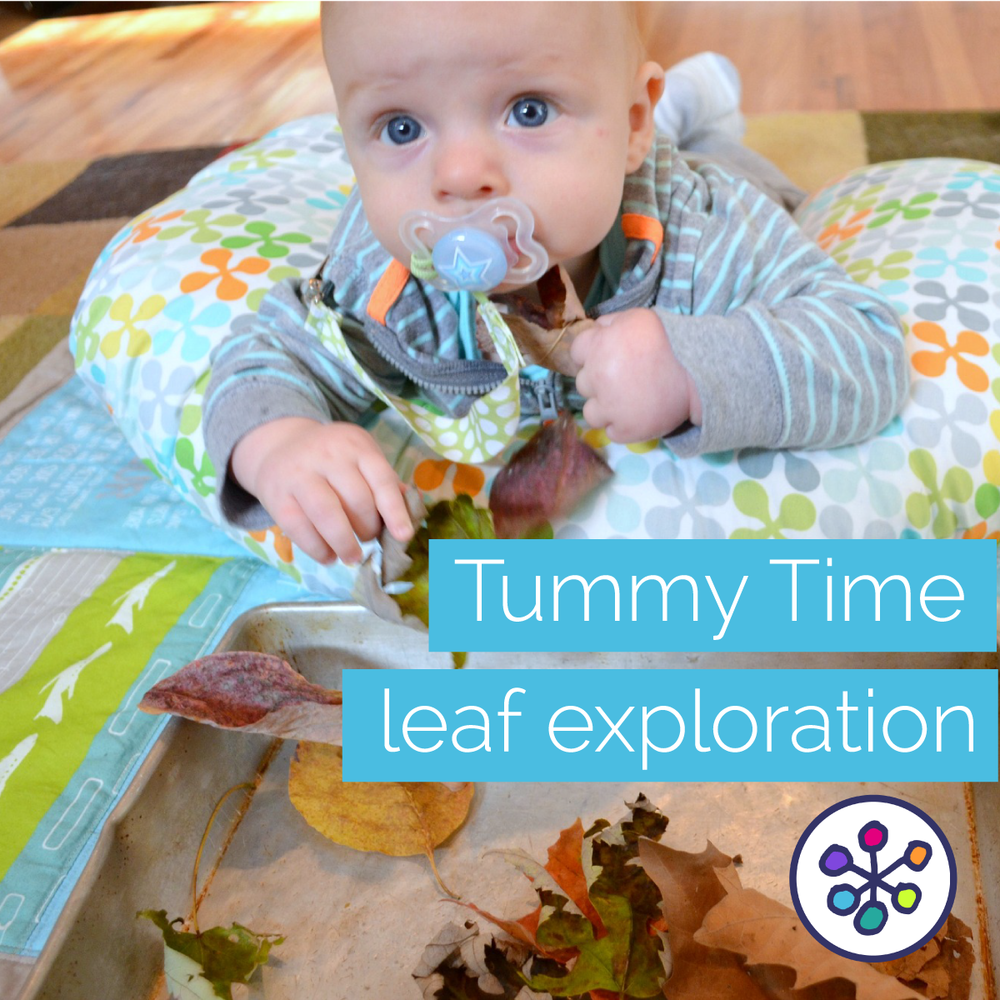 Fall baby play activities. Leaf sensory play. CanDoKiddo.com