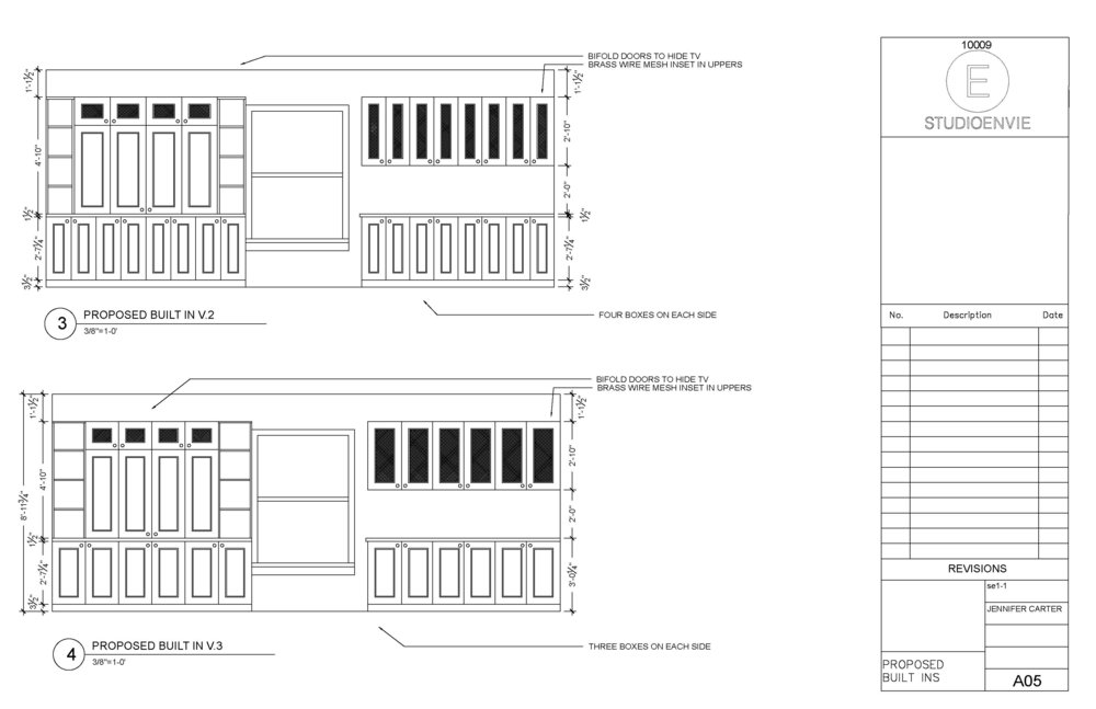 Here's an example of drawings we created for custom built-ins for a client. In this instance, we were limited by size because they needed to fit an exact space. But we had many options for what they looked like in that space. We started sketching designs with different box configurations and door styles, with open cabinets in different places and more. These are two of the final versions we settled on after a few revisions.