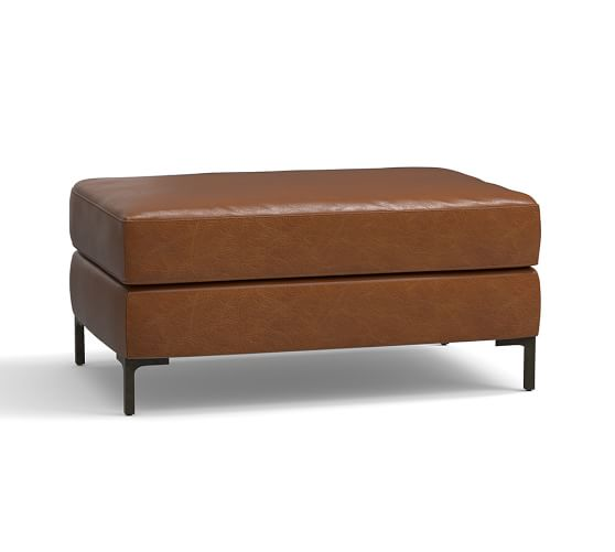 Pottery Barn Jake Leather Ottoman