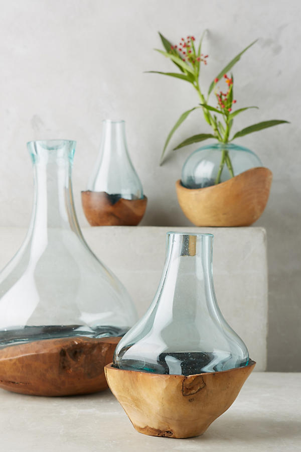 Anthropologie Teak and Bottle Vases