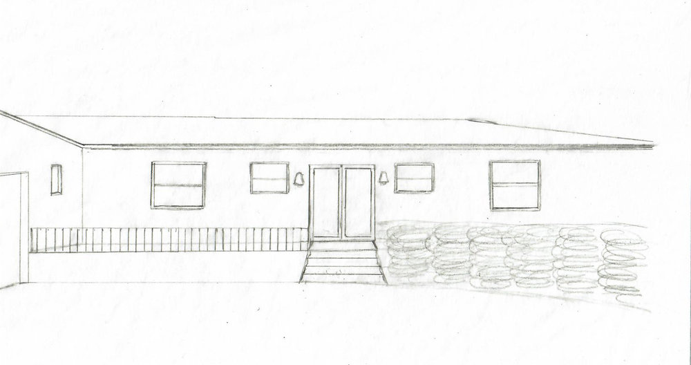 Napkin sketch of the new facade we're planning for the Jupiter Bungalow!