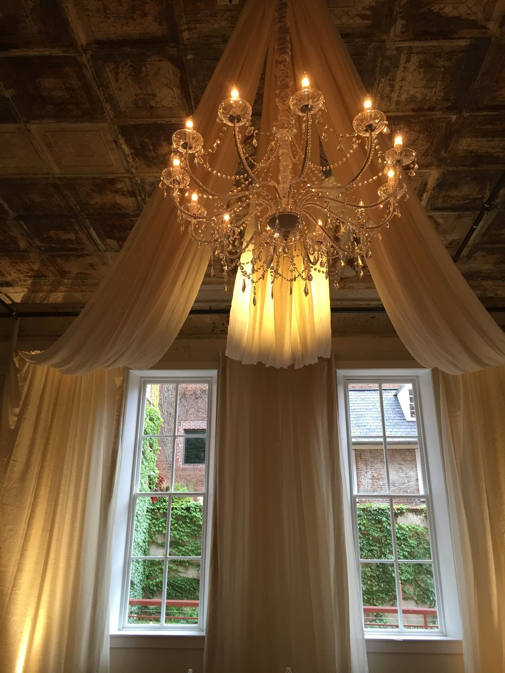 Ceremony Draping with Chandelier in Grand Salon