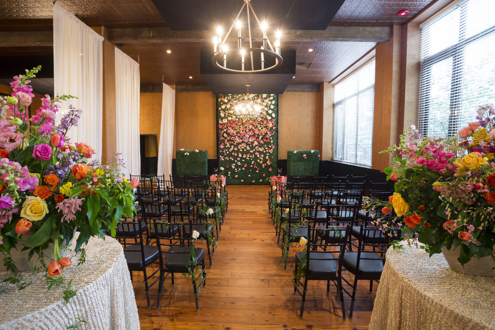 Boxwood Backdrop - Florals provided by Floral Vendor