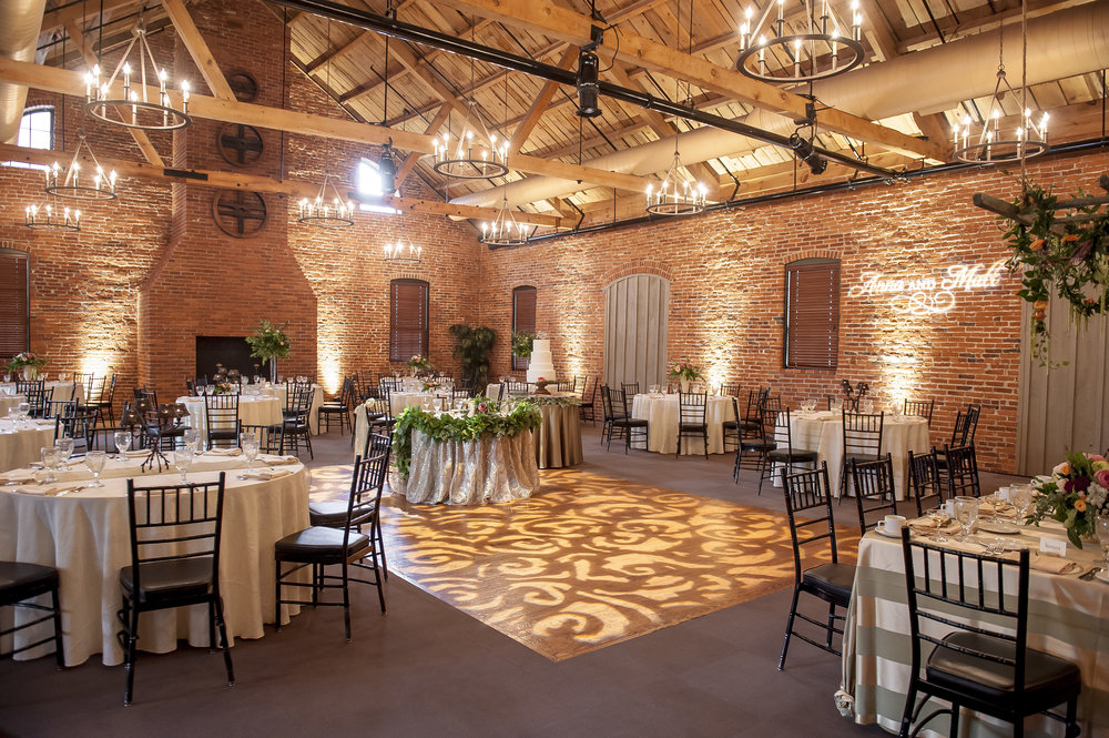 Projected Dance Floor Pattern and White Uplighting with Monogram