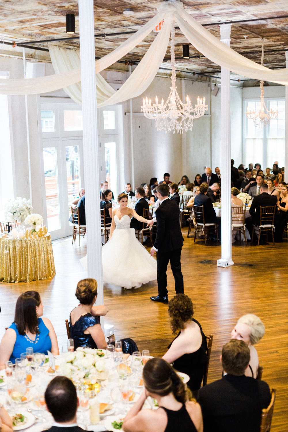Ceiling Draping and Chandeliers in Grand Salon