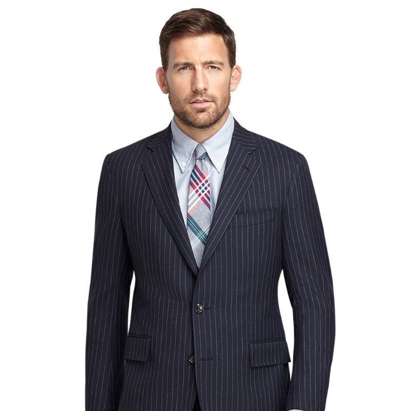 best mens style shaving grooming lifestyle fashion blog brooks brothers chalk stripe 1818 suit