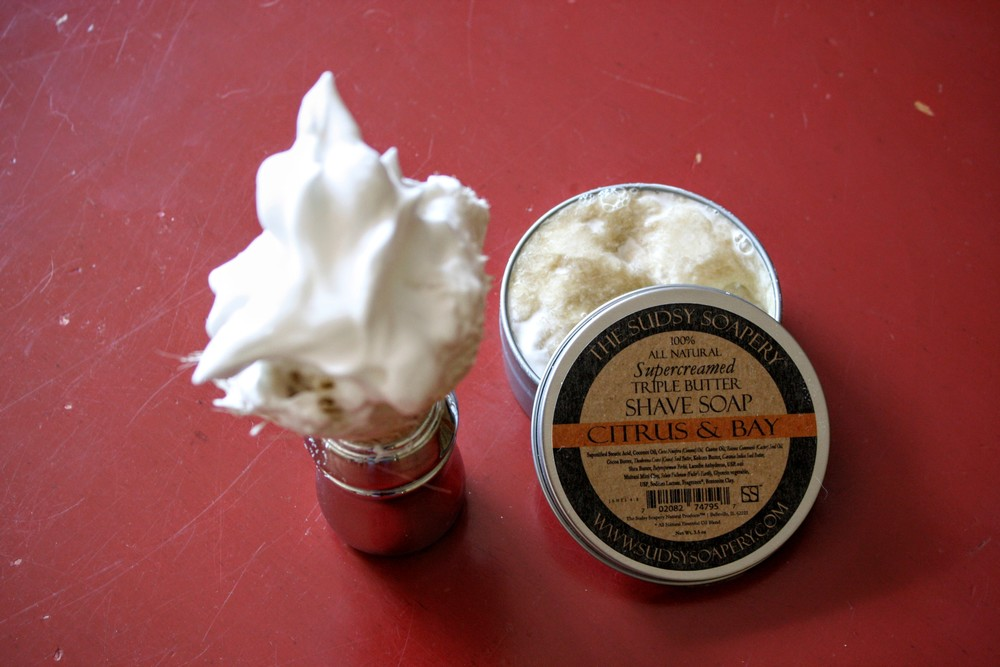 the sudsy soapery citrus and bay shaving soap review 2