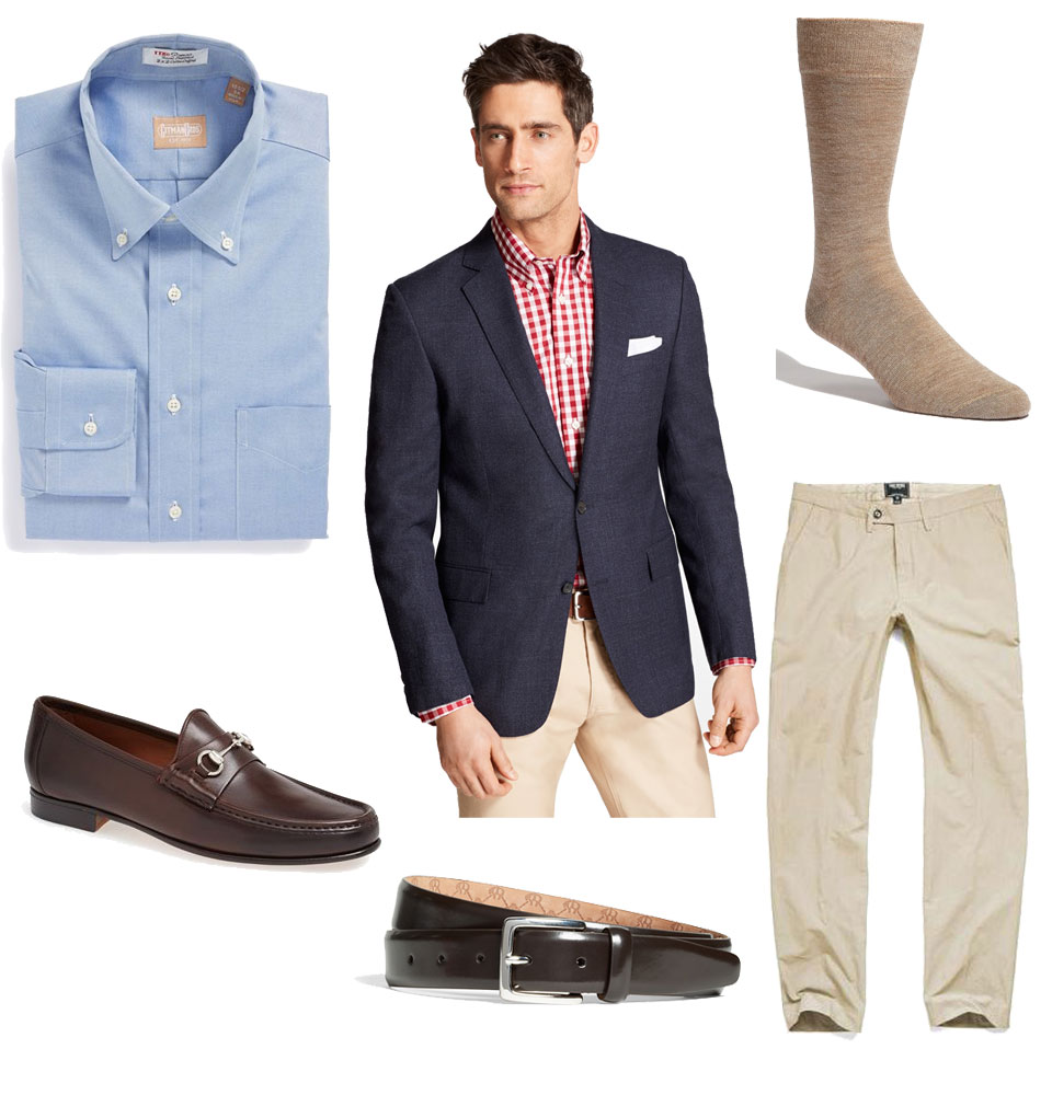 Navy Hopsack Jacket Business Casual Outfit