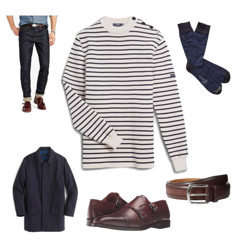 Saint-James Breton Stripe Sweater and Jeans