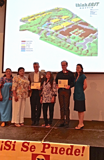 "PODER presented the Cesar E. Chavez ""Si Se Puede"" Award  to Summers and deVarga for their commitment to include  affordable working, living and studio spaces for neighborhood residents and creatives in think EAST"