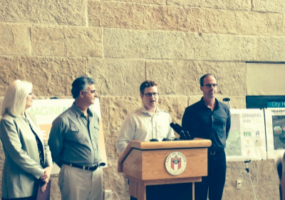 Managing Director of Fusebox, Brad Carlin, accepted the ArtPlace Award at Austin City Hall alongside Janet Seibert, the Civic Arts Program Consultant for the City of Austin, and owners/developers Richard deVarga and Robert Summers