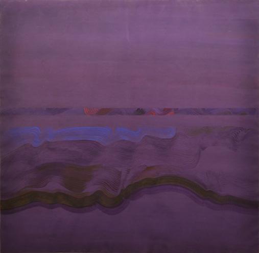 Lois Swirnoff, Horizons, 1969, acrylic on paper, 40.5x40.5