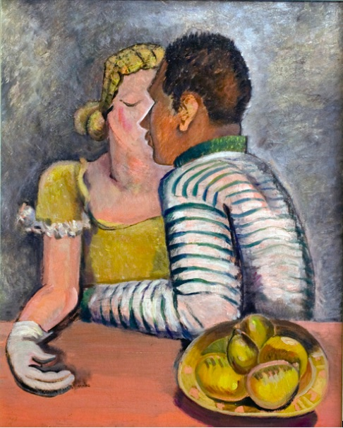 Clara Mairs    Lovers with Pears , c. 1950s  Oil on board  Canvas: 28 x 23 inches  Framed: 32 ½ x 27 inches