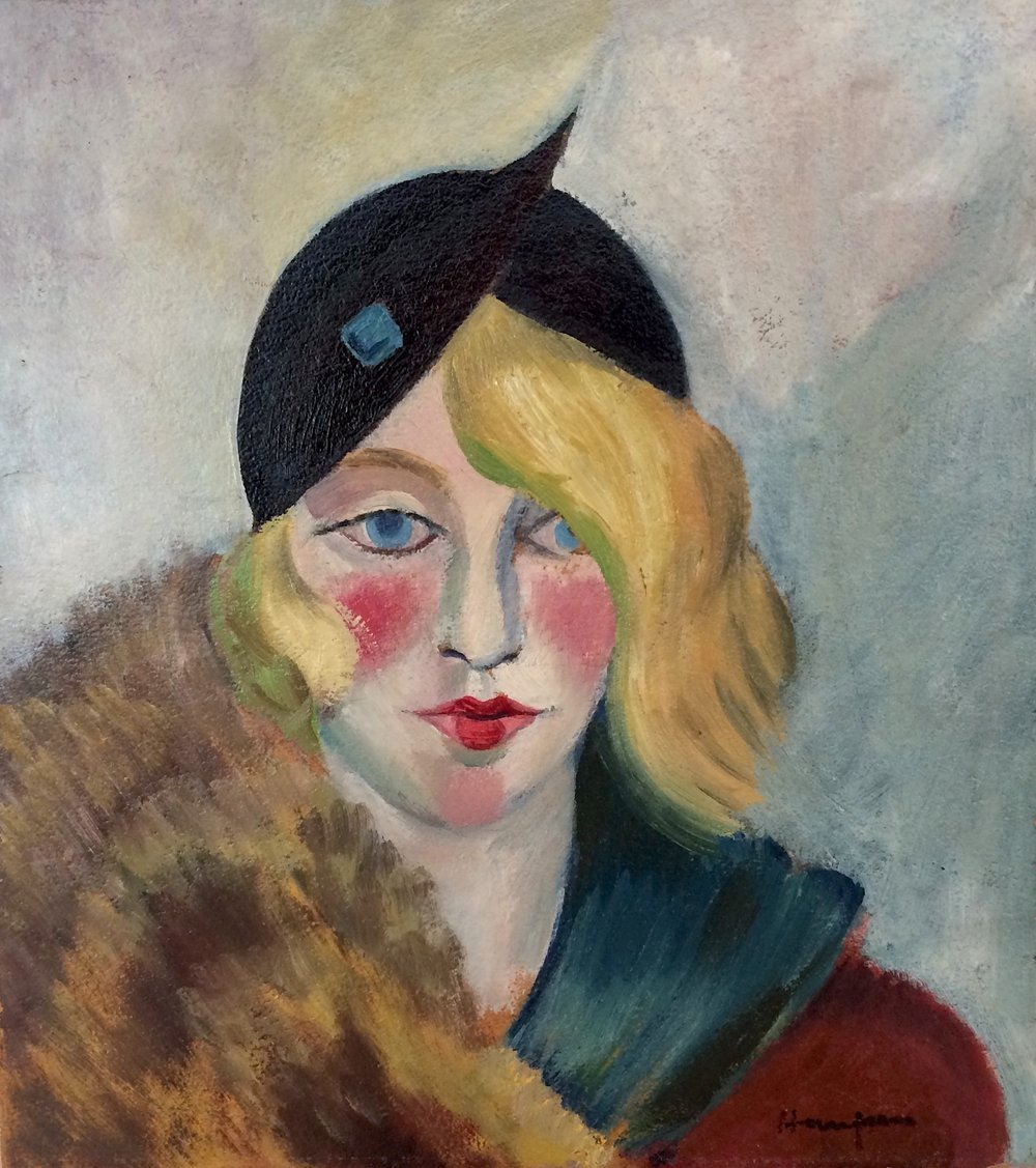 Clem Haupers    Gwen   Oil on paperboard  14 1/4/ x 13 inches