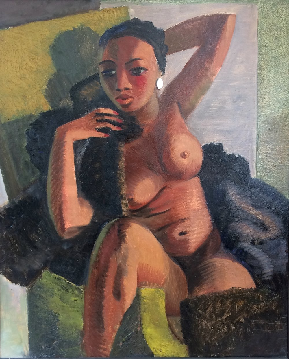 Clem Haupers    Nude in Green Chair   Oil on paperboard  36 x 29 ¾ inches