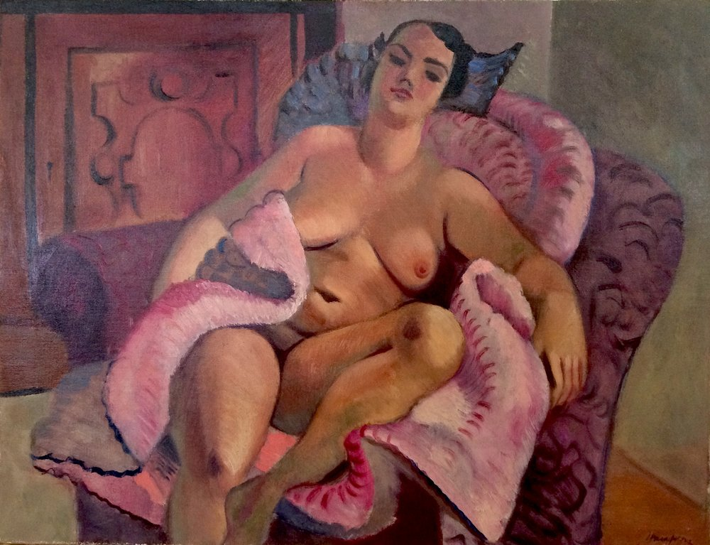Clem Haupers    Model in Studio   Oil on board  16 ½ x 22 inches