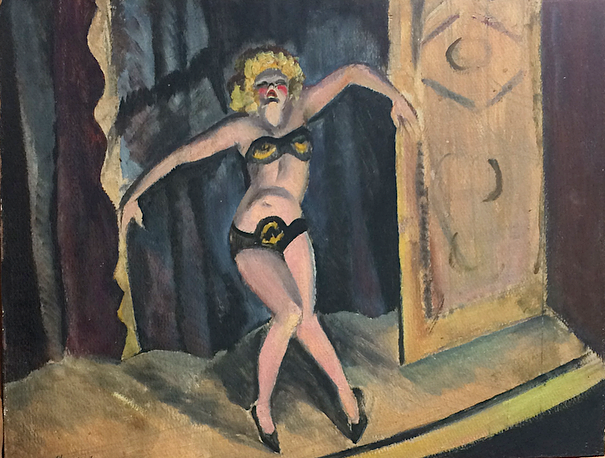 Clem Haupers    Dancer , 1934  Oil on board  17 ¾ x 23 ½ inches